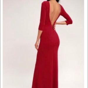 Lulus Kymber Wine Red Backless Maxi Dress